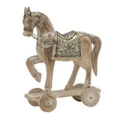"Attractive Wood Metal Horse 10""W, 14""H"