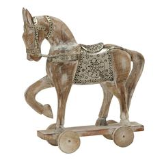 "White Color Wood Metal Horse 14""W, 17""H"