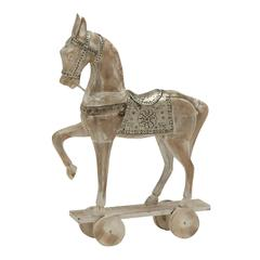 "Benzara Silver/White Shaded Wood Metal Horse 19""W, 28""H"
