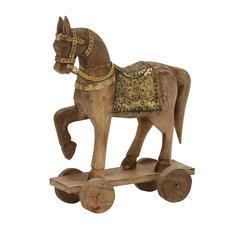 """Benzara Eye-Catching Wood Metal Horse 10""""W, 14""""H"""