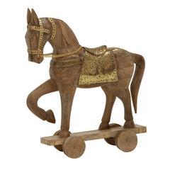"Benzara Brown Color Wood Metal Horse 14""W, 17""H"