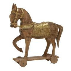 "Benzara Brown Wood Metal Horse 18""W, 20""H"
