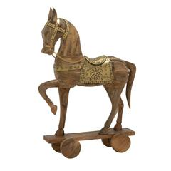 "Wooden/Golden Shaded Wood Metal Horse 19""W, 28""H"