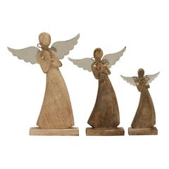 "Benzara Arch Style Wood Metal Angel Set Of 3 10"", 13"", 16""H"