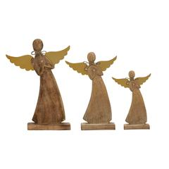 "Benzara Archway Style Wood Metal Angel Set Of 3 10"", 13"", 16""H"