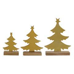 Benzara Set Of 3 Sparkling Metal Wood Xmas Tree