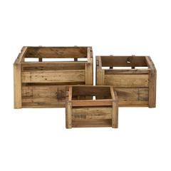 Rural And Arty Wood Storage Crat Set Of 3