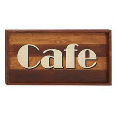 Benzara Amazingly Useful Wood Cafe Wall Sign