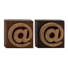 Benzara Unique Wood Block Symbol 2 Assorted
