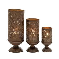 Stunning Set Of Three Metal Candle Holders