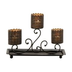 Benzara Fabulously Styled Metal Candle Holder Tray