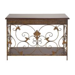 Benzara Cool Fancy Metal Wood Console Table