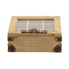 Benzara Lovely And Useful Wood Glass Box