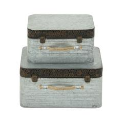 Benzara Classy Set Of Two Metal Boxes