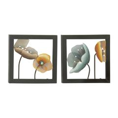 Benzara Uniquely Styled Metal Led Wall Plaque 2 Assorted