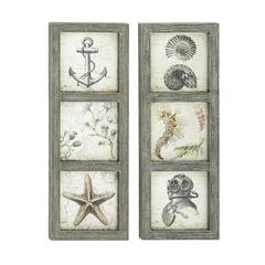 Set Of Two Assorted Sea Themed Wall Plaques