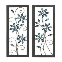 Benzara Contemporary Styled Metal Led Wall Plaque 2 Assorted