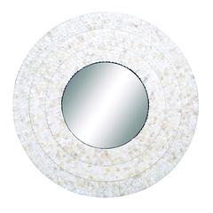 Benzara Inlay Mirror Circular Design Smoothly And Expertly Finish