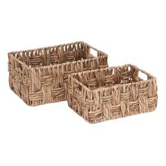 Basket With Wicker Basket Pattern - Set Of 2