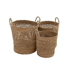 Benzara Most Useful Seagrass Basket Set Of 3