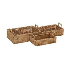 Benzara Naturally Exquisite Seagrass Tray Set Of 3