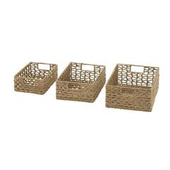 Benzara Wonderfully Crafted Set Of 3 Sea Grass Baskets