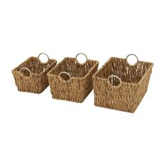Benzara Exceptional Set Of 3 Sea Grass Baskets