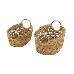 Benzara Captivating Set Of 2 Sea Grass Baskets