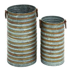 Benzara Cylindrical Shaped Metal Galvanized Planter Set Of Two With Side Handles