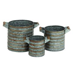 Benzara Round Shaped Metal Galvanized Planter Set Of Three With Comfortable Wood And Iron Side Handles