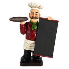 Benzara Polystone Chef Menuboard Red And White