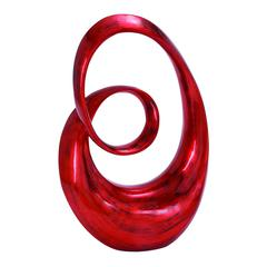 Rounded Corners Polystone Sculpture In Glossy Red And Black