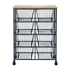 """Metal Wood Storage Mobile Cart With 41"""" H, 29"""