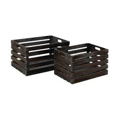 Style Wood Wine Crate Crafted From Solid Wood - Set Of 2