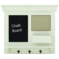 Wooden Chalkboard Wall Shelf With Three Metal Hooks