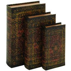 Benzara Decorative Wood Fabric Book Box Set Of Three