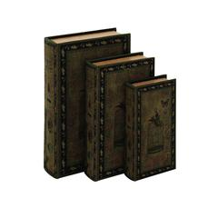 Benzara Decorative Wood Fabric Book Box Set Of Three Depicting The Image Of A Bird, A Cage And A Butterfly