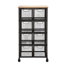 Benzara Organize With Metal Wood Storage Cabinet
