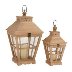 The Heavenly Set Of 2 Wood Glass Lantern
