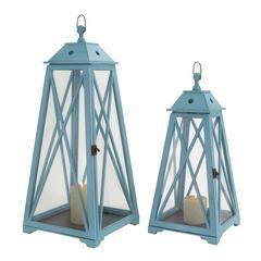 Benzara The Appealing Set Of 2 Wood Glass Lantern
