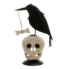 Benzara Spooky Metal Bird Skeleton Head