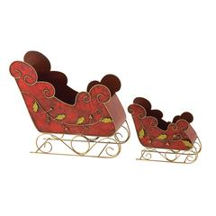 Marvelous Set Of 2 Metal Sleigh