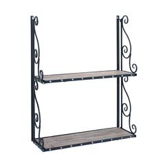 Metal And Wood Wall Shelf With Antique Finish