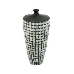 Benzara Lovely Ceramic Lacquer Inlay Vase