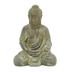 Benzara Finely Detailed Fiber Clay Buddha In Antiqued Yellow Finish