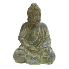 Benzara Fiber Stone Buddha In Antiqued Yellow Finish With Intricate Styling