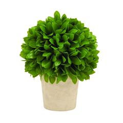 Benzara Intricately Styled Vibrant Green Colored Vinyl Leaf Ball In Pot