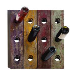 Wall Wine Holder In Rustic Old Finish With 12 Bottle Holes