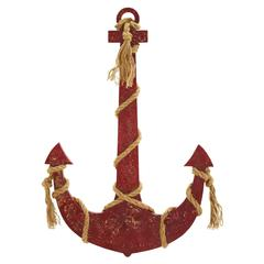 Benzara Rope Anchor Smeared In Brownish Red Color
