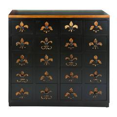 Dresser In Brown Lacquer And Fleur De Lis Imprints